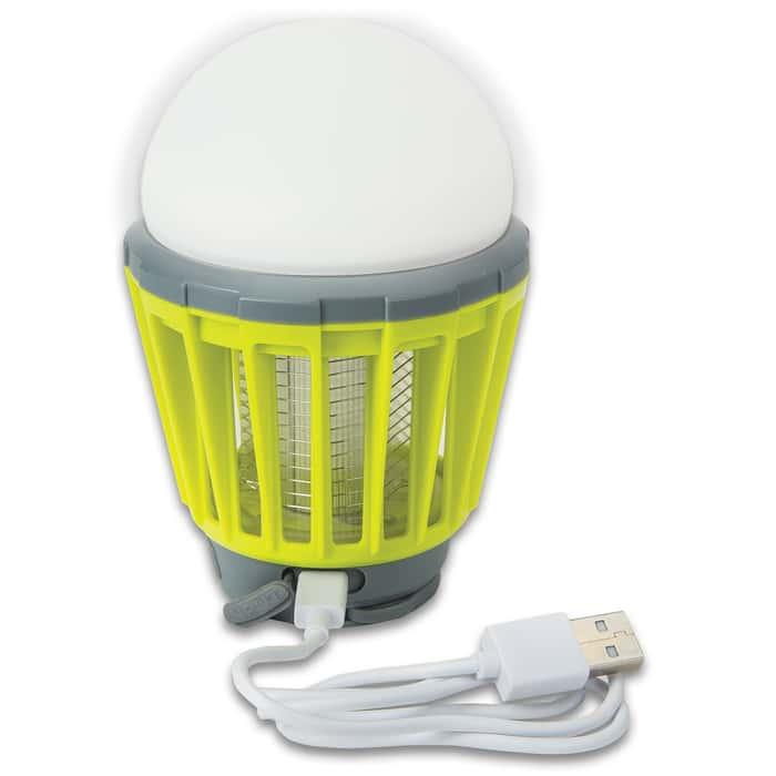 Aladdin Mosquito Killer USB Rechargeable Mini Lantern - Sturdy ABS, Three-Setting LED Light, Ultraviolet LED, Hanger Handle