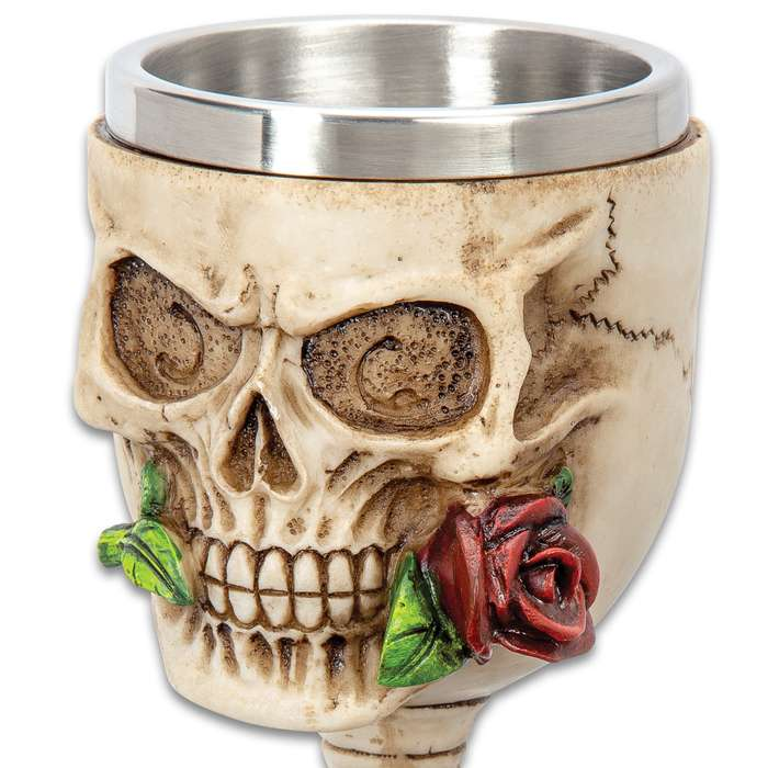 """Immortal Rose Bite Skull Goblet - Crafted Of Polyresin And Wood, Intricately Detailed, Hand-Painted - Dimensions 7 1/4""""x 2 3/4"""""""
