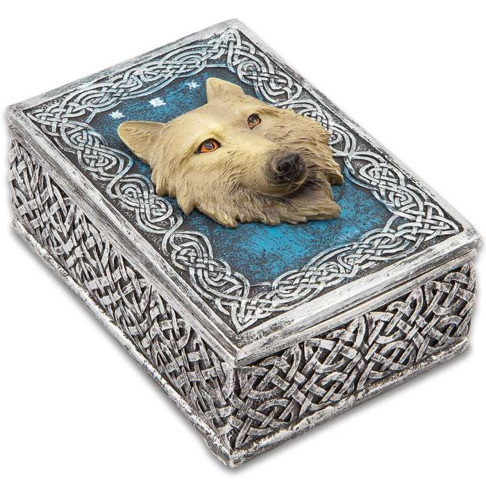 """Call Of The Wild Decorative Box - Crafted Of Cold Cast Resin, 3-D Relief, Exquisitely Painted, Lined In Black Felt - Dimensions 4 3/5""""x 3 3/10""""x 2 2/5"""""""