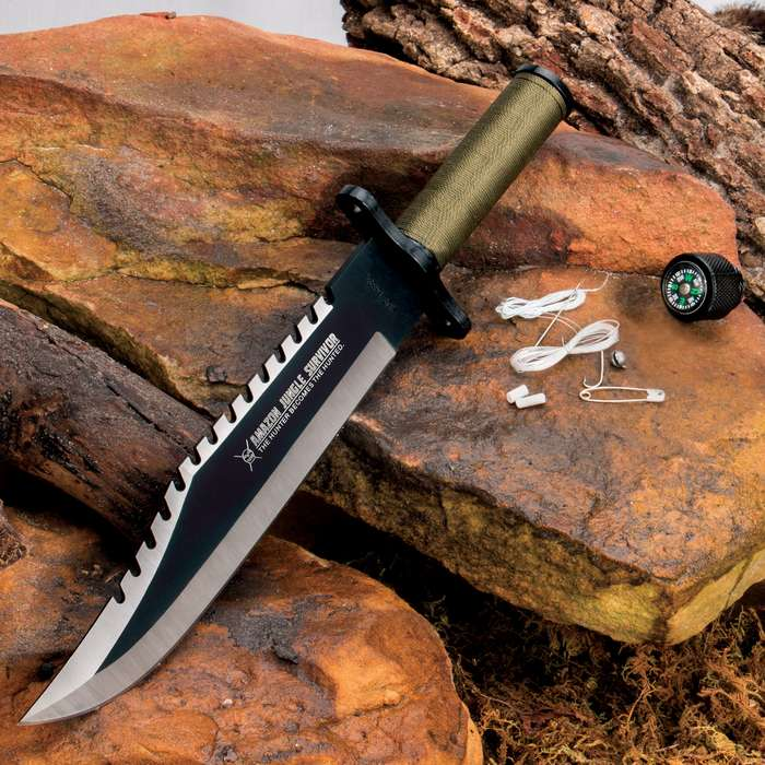 Amazon Jungle Survival Knife And Sheath