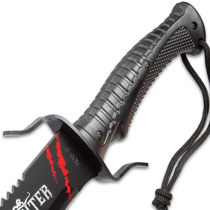"Black Legion Amazon Hunter Machete With Sheath - AUS-8 Stainless Steel Blade, Blood Red Artwork, TPR Handle - Length 25"""