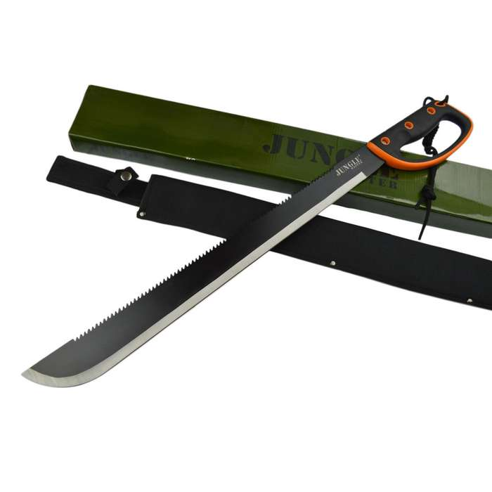 "28"" SURVIVAL JUNGLE HUNTING MACHETE KNIFE w/ SHEATH Military Fixed Blade Sword"
