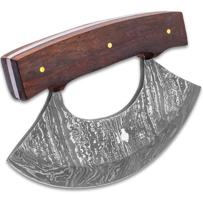"Timber Wolf Classic Ulu Knife With Sheath - Damascus Steel Blade, Wooden Handle, Brass Screws - Width 3 3/4"""