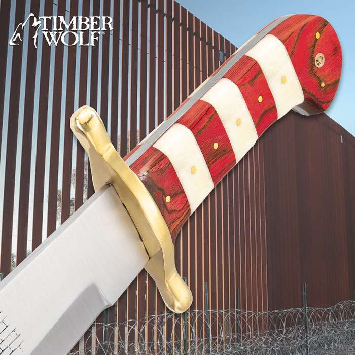Timber Wolf Limited Edition Trump Build The Wall Bowie Knife - Stainless Steel Blade, Bone And Wooden Handle, Brass Guard And Pins - Length 16""