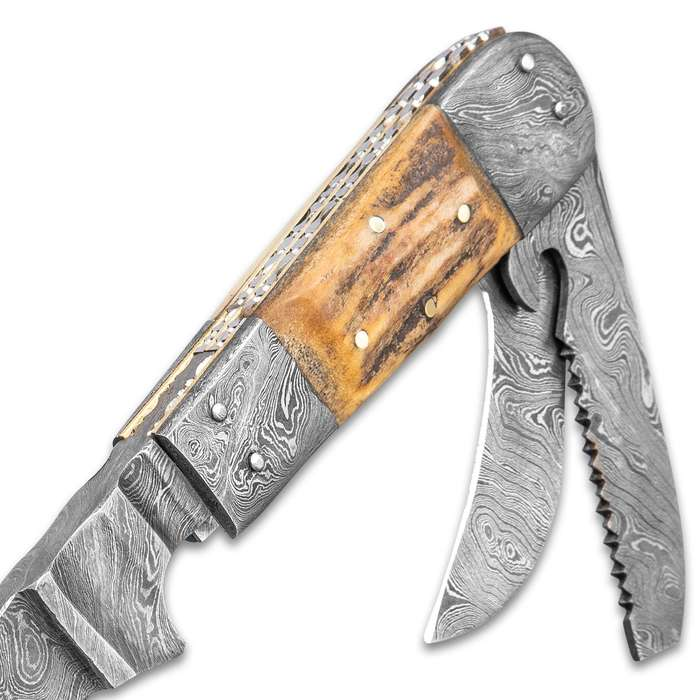 """Timber Wolf Woodsman Fixed And Folding Blade Knife With Sheath - Damascus Steel Blades, Stag Handle, Damascus Bolsters - Length 9 1/2"""""""