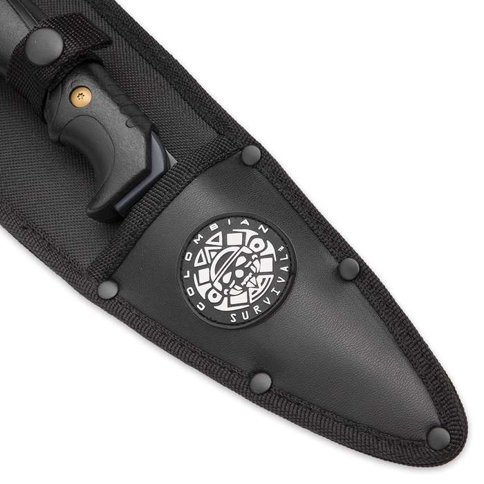 Colombian Survival Smatchet and Field Knife Two-Piece Survival Set With Sheath - 1065 High Carbon Steel Blades, Black Tungsten Coating, ABS and TPR Handles
