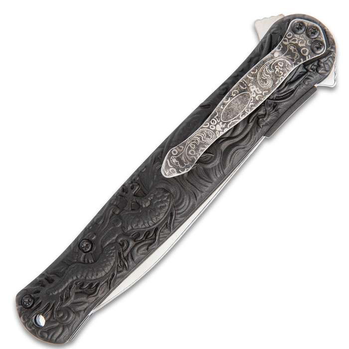 Black Legion Gold Chinese Dragon Deity Stiletto Knife - Stainless Steel Blade, Assisted Opening, Anodized Aluminum Handle, Pocket Clip