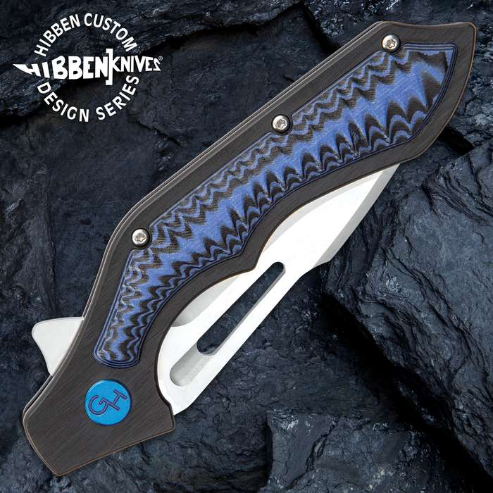 Hibben Hurricane Pocket Knife - 7Cr17 Stainless Steel Blade, CNC Machined, Ball Bearings, Blue And Black G10 Handle Scales