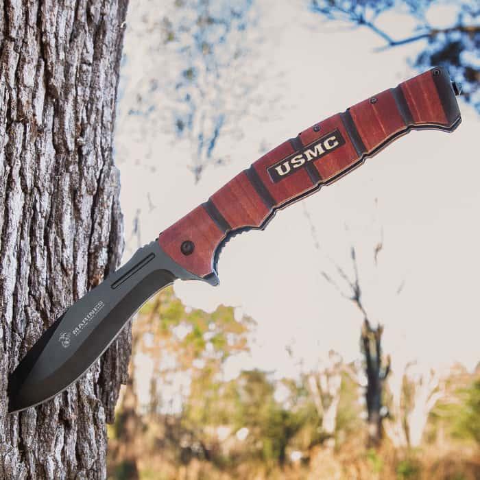 USMC Combat Master Pocket Kukri - Assisted Opening, Stainless Steel Blade, Textured Aluminum Handle, Glass Breaker