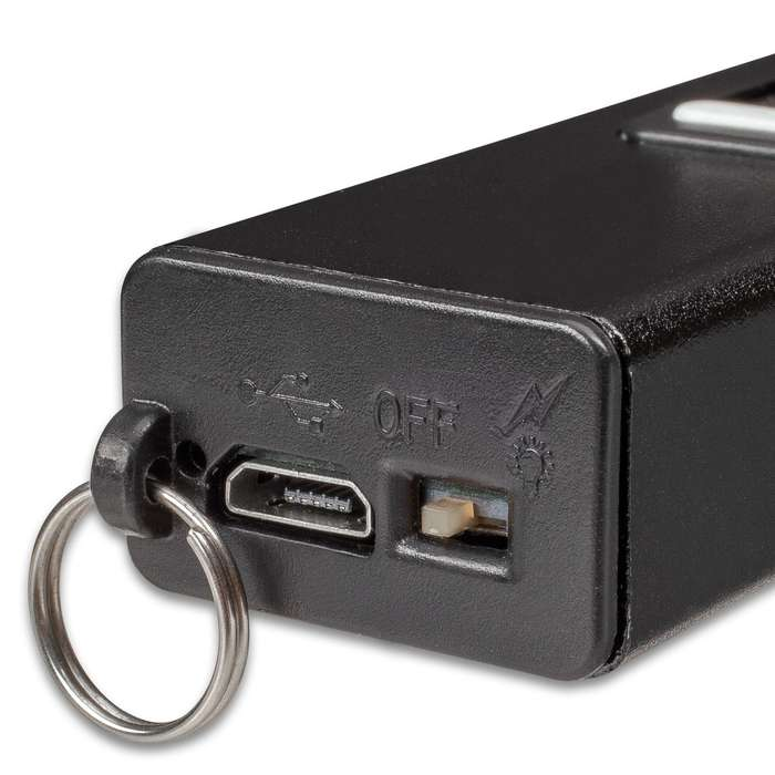 Night Watchman Mini Stun Gun - Attaches To Keys, Size Of A Pack Of Gum, LED Flashlight, Safety Switch, USB Cord