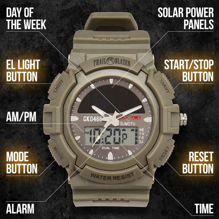 Trailblazer Solar Power Digital And Analog Watch - Water-Resistant Watch, Comfortable PU Resin Band, Hard PC And Stainless Steel Case, Clear Resin Glass