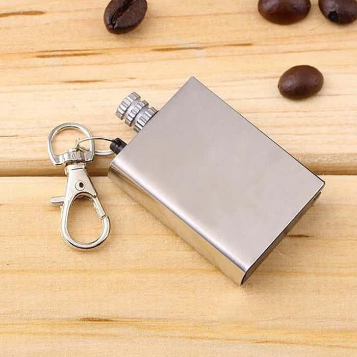 Waterproof Permanent Match Survival Lighter Keychain - Stainless Steel Case, Flint Match, Ferro Rod, Thousands Of Strikes