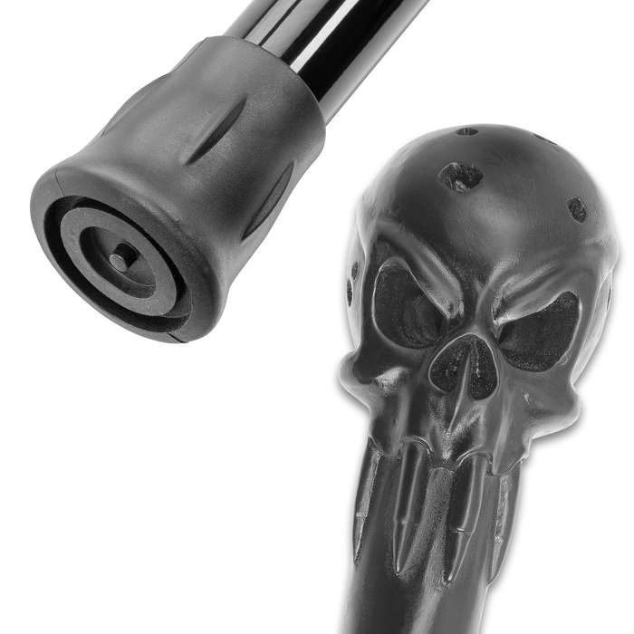 """Punisher Sword Cane With LED Lights - Stainless Steel Blade, Polyresin Head, Aluminum Shaft, Rubber Toe - Length 35 4/5"""""""