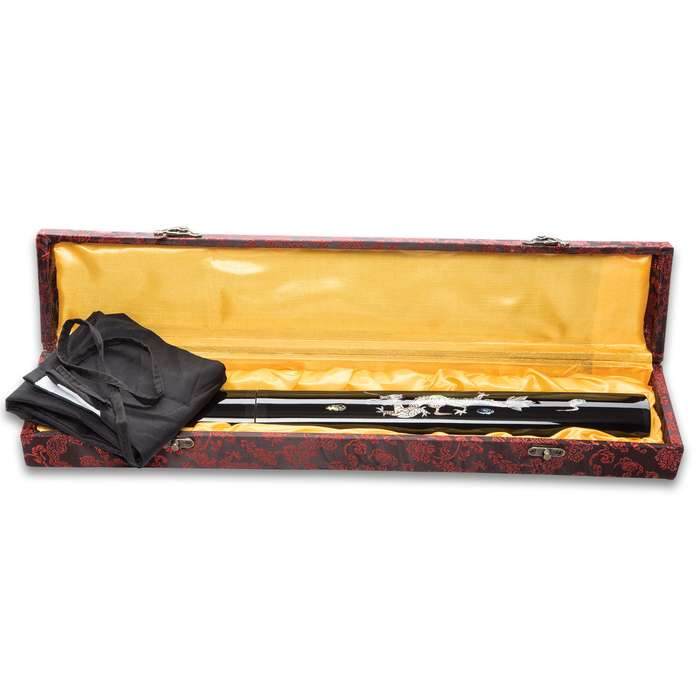 Shinwa Black Komodo Handmade Tanto / Samurai Short Sword - Hand Forged 1045 Carbon Steel - Mother of Pearl Dragon Inlay; Black Hand Lacquered Hardwood; Shirasaya Mounting - Ninja Stealth - Full Tang