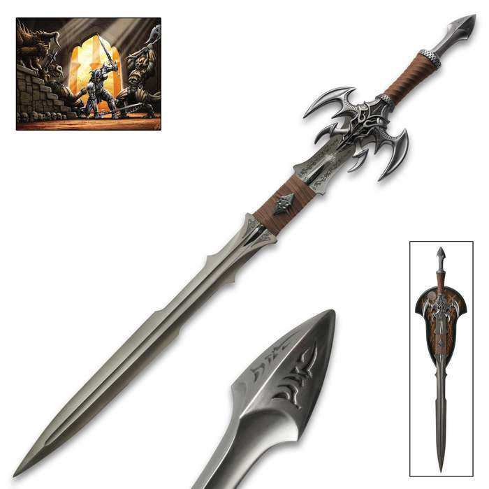 Kit Rae Exotath: Dark Edition Fantasy Sword - Commemorates Kit Rae Fantasy Art Line 20th Anniversary - Swords of the Ancients Collection - Wooden Display Plaque, Coin Inset, Art Print and More