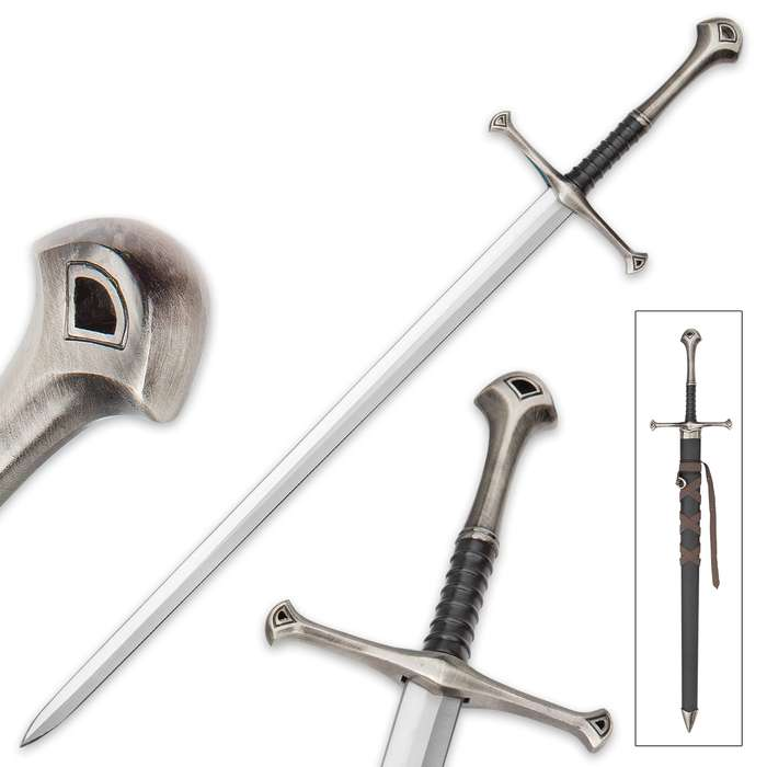 """Middle Ages Warrior Short Broadsword With Black Sheath - Double-Edged Sharp Blade - 22 1/2"""" Length"""