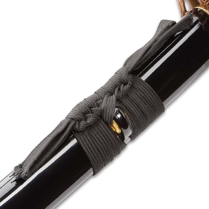 "Shinwa Black Viper Katana And Scabbard - 1045 Carbon Steel Blade, Genuine Rayskin, Brass Habaki, Cast Metal Fittings - Length 39 1/2"""