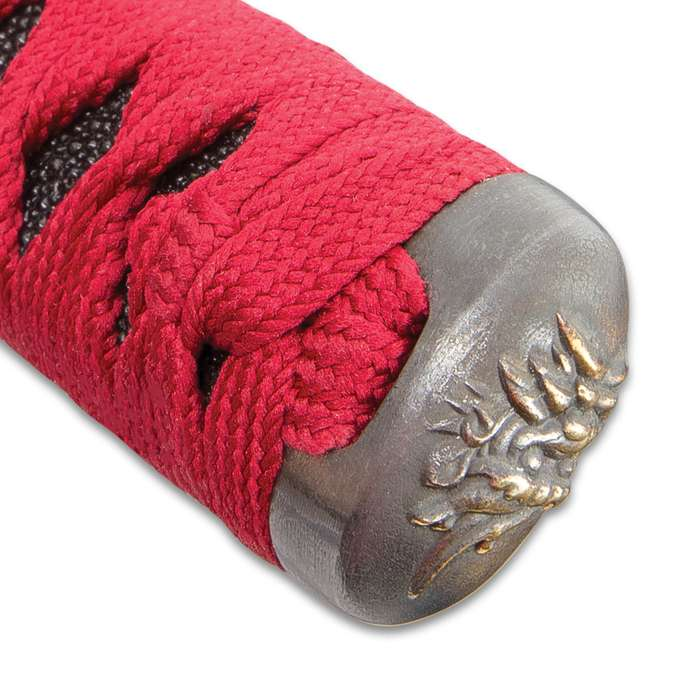 Sokojikara Pearl Zen Handmade Katana / Samurai Sword - Hand Forged, Clay Tempered 1045 Carbon Steel - Mother of Pearl Dragon Inlay - Ray Skin; Brass Tsuba - Functional, Full Tang, Battle Ready