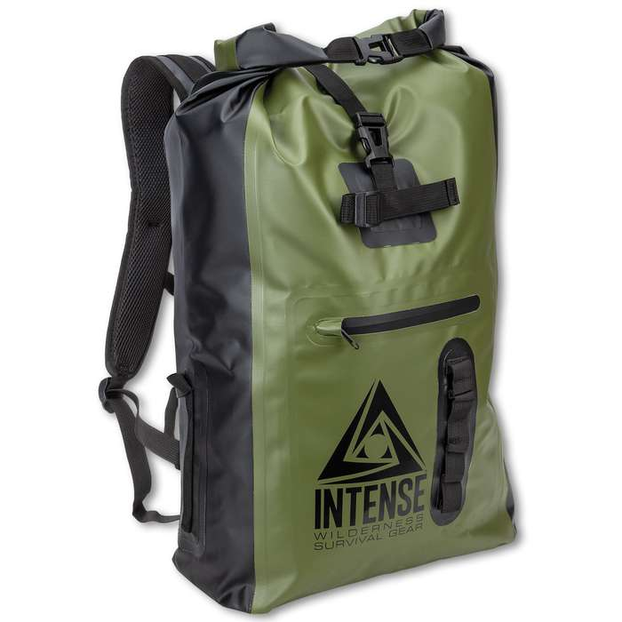 "Intense Waterproof Drybag Backpack - 35L Capacity, PVC Tarpaulin Construction, Nylon Webbing Straps - Dimensions 23 2/5""x 12 2/5""x 7 1/2"""