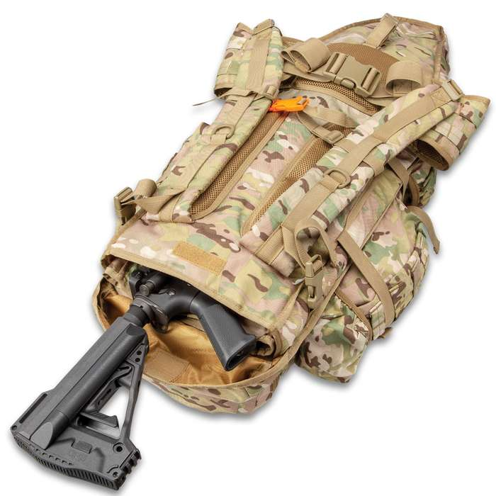 """Camo Rifle Backpack With MOLLE System - 600D Nylon Construction, Multiple Pockets, Waist Strap, Shoulder Straps - Dimensions 23 1/2""""x 12 1/2""""x 6 3/4"""""""