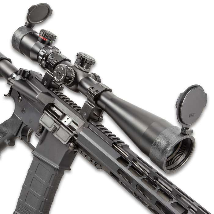 "AIM 10-40X50 Rifle Scope - Aircraft Grade Aluminum Construction, Mil-Dot Reticle, Side Parallax, Locking Turrets - Length 15 1/2"""