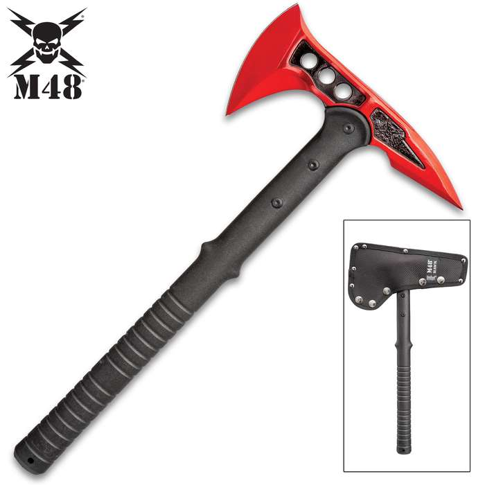M48 Red Tactical Tomahawk Axe With Snap-On M48 Sheath - Hawk Axe, Cast Stainless Steel Blade, Fiberglass Handle - Length 15""