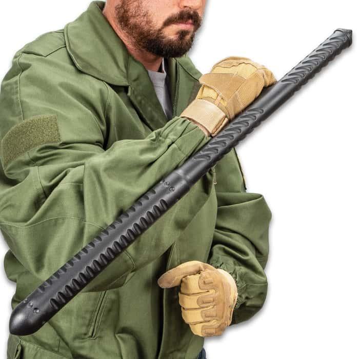 "Night Watchman Tac-Tonfa Baton - Solid One-Piece Polypropylene Construction, Grippy Handle - Length 23 1/2"""