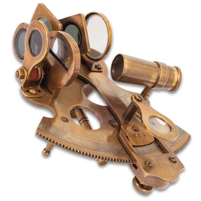 """Brass Sextant With Leather Case - Unpolished Brass And Glass Construction - Dimensions 4 1/4""""x 4 1/4""""x 2 1/4"""""""