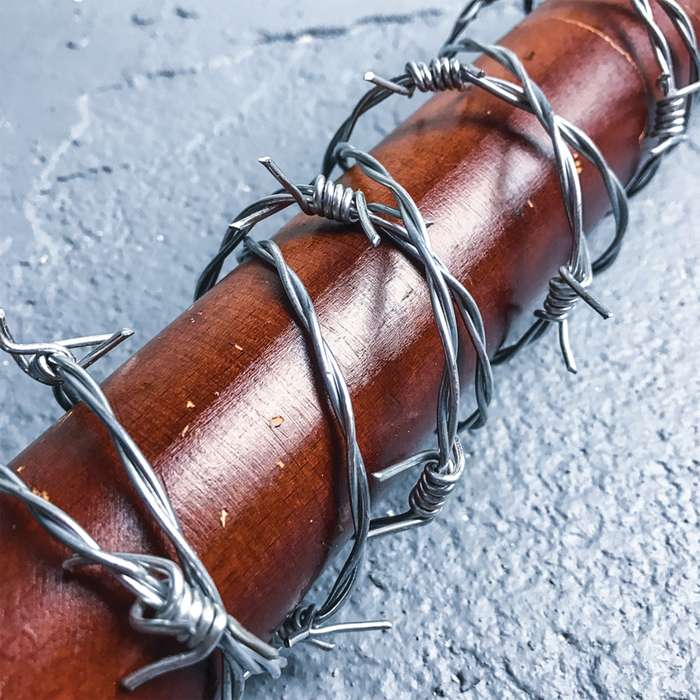 """Lucille - Barbed Wire Wrapped Baseball Bat - Genuine Hardwood, Stainless Steel Barbed Wire - Regulation Size, 32"""" - Zombie Apocalypse Walker Undead Dead Walking TV Television"""