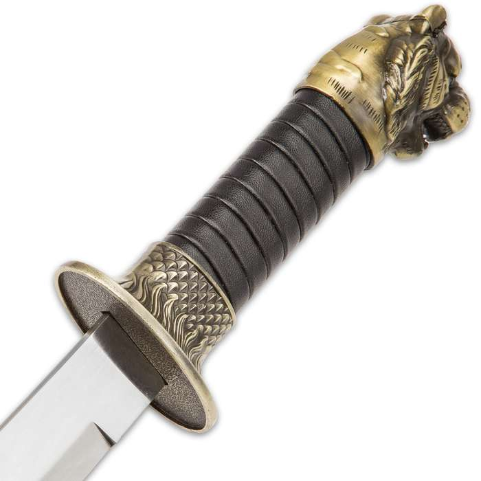 Growling Tiger Fantasy Dagger And Scabbard - Stainless Steel Blade, Faux Leather Wrap, Brass Look Collectible - Length 13 1/2""