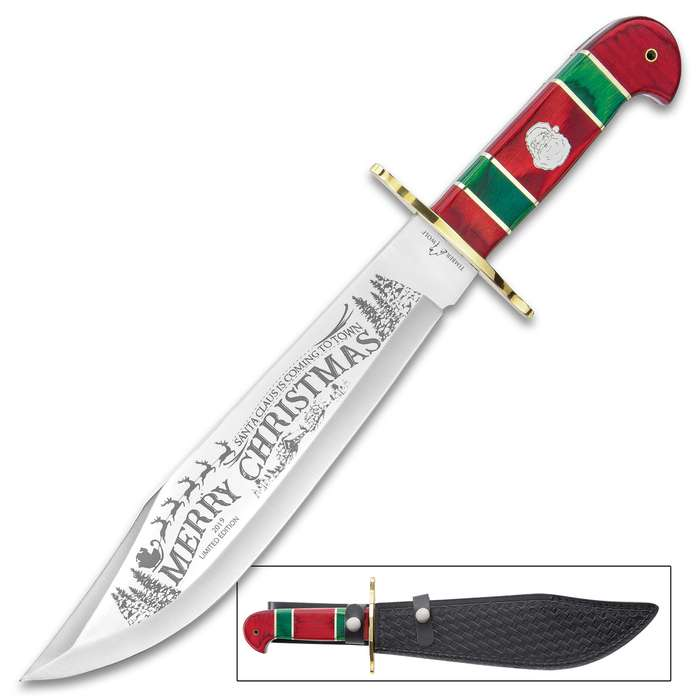 Timber Wolf Limited Edition 2019 Christmas Bowie Knife And Sheath - Stainless Steel Blade, Wooden Handle Scales, Brass Guard - Length 16""