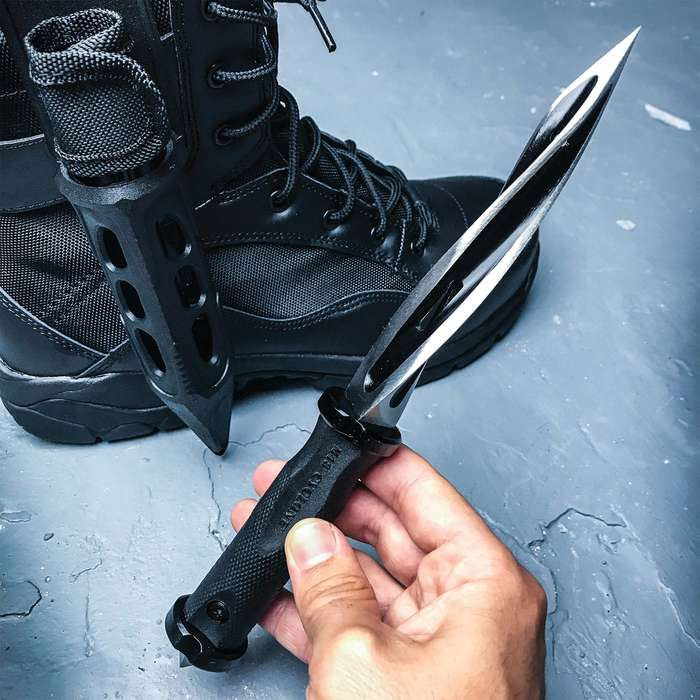 """United Cutlery Cyclone Boot Knife With Custom Vortec Sheath - Cast Stainless Steel Blade, Piercing Point, Reinforced Nylon Handle - Length 10 1/2"""""""