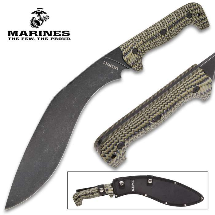 USMC Fallout Tactical Kukri With Sheath - 3Cr13 Steel Blade, Full-Tang, Grippy G10 Handle, Officially Licensed - Length 16""