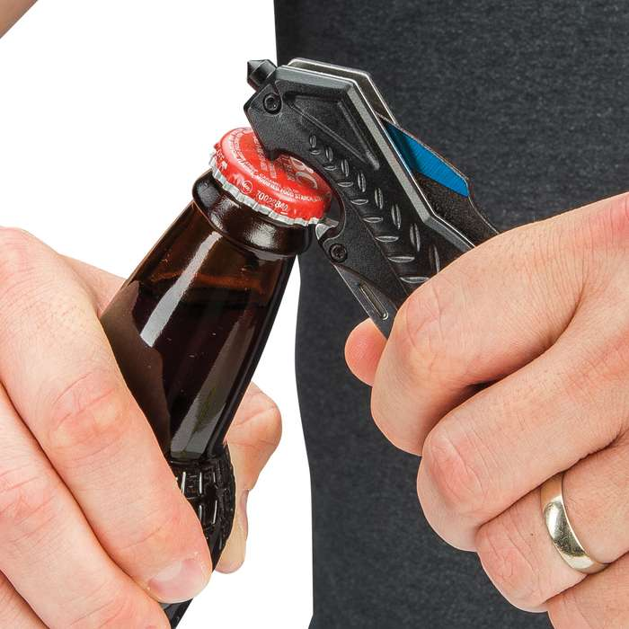 Blue Wasp Assisted Opening Pocket Knife - Stainless Steel Titanium Coated Blade, Aluminum Handle, Window Breaker, Bottle Opener