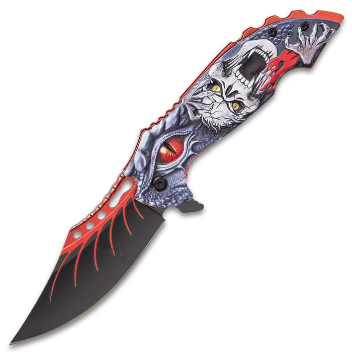 Screaming Skull And Dragon Assisted Opening Pocket Knife - Stainless Steel Blade, 3D Sculpted Aluminum Handle Scales, Pocket Clip