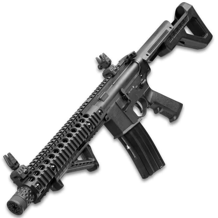 Crosman DPMS SBR Full Automatic Air Rifle - Nylon Fiber Stock, Steel Barrel, Quad Rail, Blowback, Folding BUIS Sights, 430 FPS