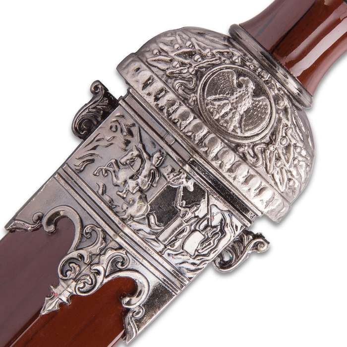 """Stag Hunting Medieval Short Sword With Scabbard -  Stainless Steel Blade, Celtic Etch, Faux Woodgrain, Historically Inspired - Length 17 1/4"""""""