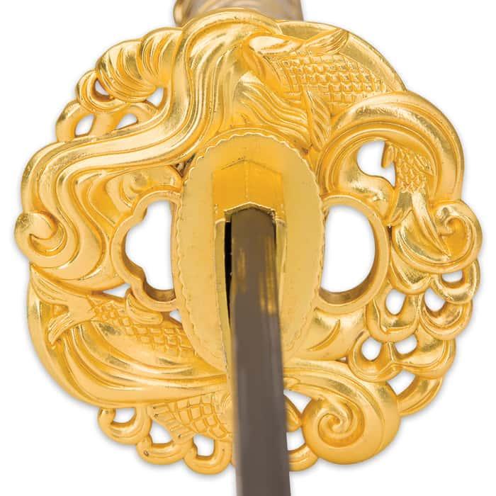 Shinwa Golden Knight Katana Sword with Wooden Scabbard - 1045 High Carbon Steel - Genuine Ray Skin