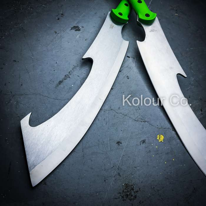 "55"" DUAL BLADE Fixed Machete SWORD SPEAR Martial Arts Fantasy Cosplay Japanese"