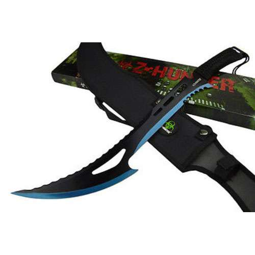 """Havoc Blue Hunter Machete With Sheath - One-Piece Stainless Steel Construction, Cord-Wrapped Handle, Two-Toned Finish - Length 23 3/4"""""""