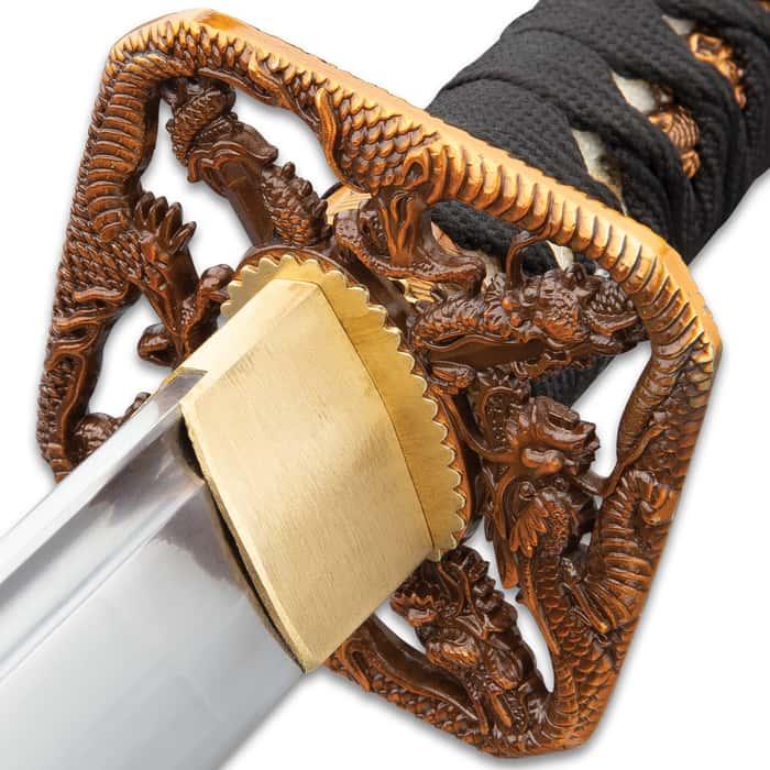"Shinwa Blood Dragon Katana And Scabbard - 1045 Carbon Steel Blade, Genuine Rayskin, Brass Habaki, Cast Metal Fittings - Length 39 1/2"""