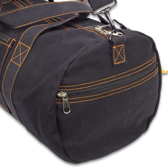 Rothco Black Canvas Equipment Bag - Heavyweight Cotton Canvas, Detachable Strap, Carry-On Handles, Yellow Contrast Thread
