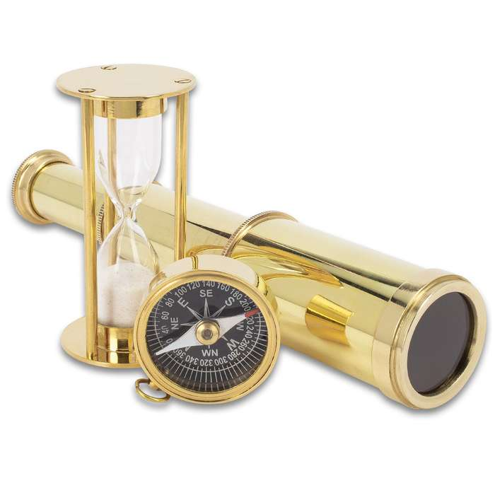 """Compass, Telescope And Minute Timer Set In Wooden Box - High-Quality Brass Construction, Working Pieces - Box 6""""x 4"""""""