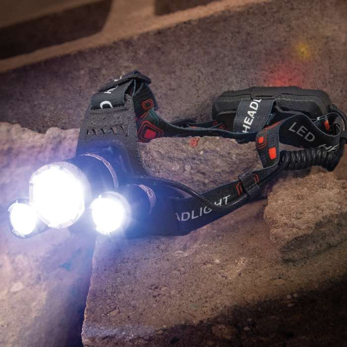 SHTF Three-Mode LED Water-Resistant Headlamp - Three CREE Lights, Tough Housing, Adjustable Elastic Head Strap, Included Charger
