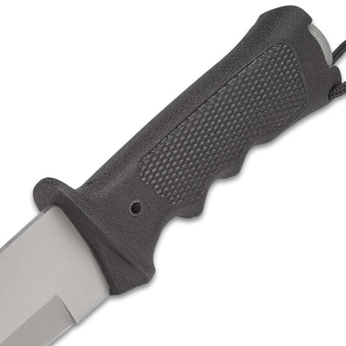 NRA Tactical S.A.F.E. Knife And Sheath - Stainless Steel Blade, Checkered Grip Handle, Survival Kit,