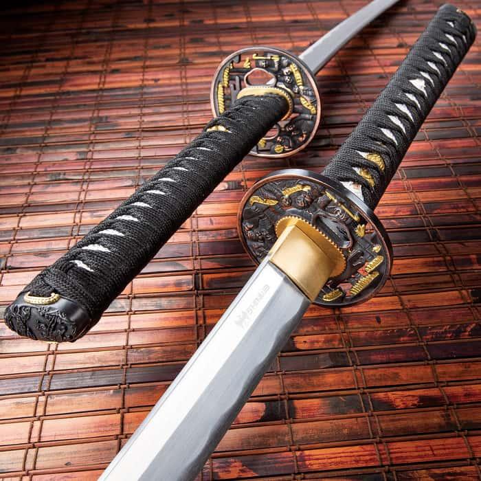 """Shinwa Crimson Warrior Katana With Scabbard - 1045 High Carbon Steel Blade, Genuine Rayskin, Brass Habaki - Length 41 1/4"""""""