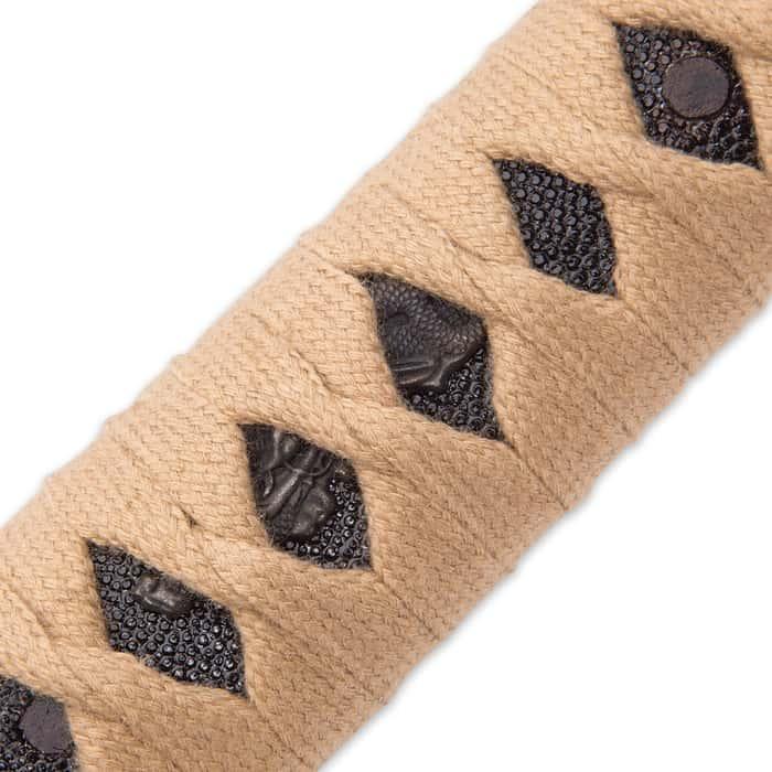 Shinwa Regal Makaku Wakizashi / Samurai Sword - Hand Forged Damascus Steel - Custom Cast Macaque Monkey Tree Tsuba  - Genuine Ray Skin; Hand Lacquered Saya - Fully Functional, Battle Ready, Full Tang