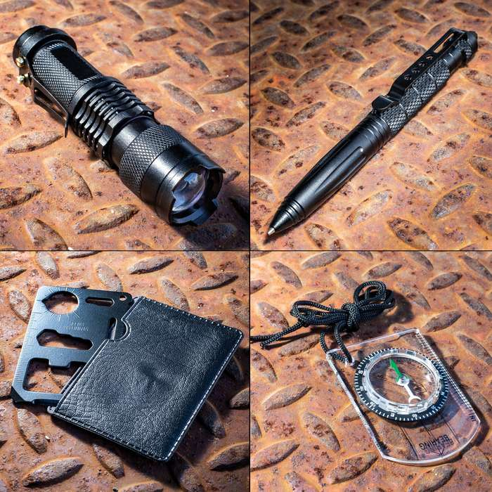 M48 Survival Kit - Weatherproof Padded Case, Flint And Striker, Keychain Light, Tactical Pen, Mini Flashlight, Multi-Function Paracord Bracelet