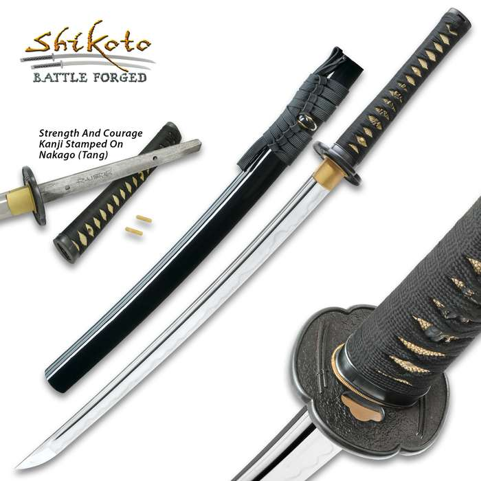 Shikoto Touchstone Handmade Wakizashi / Samurai Sword - Hand Forged Clay Tempered T10 High Carbon Steel - Ray Skin; Iron Tsuba; Certificate of Authenticity - Functional, Full Tang, Battle Ready