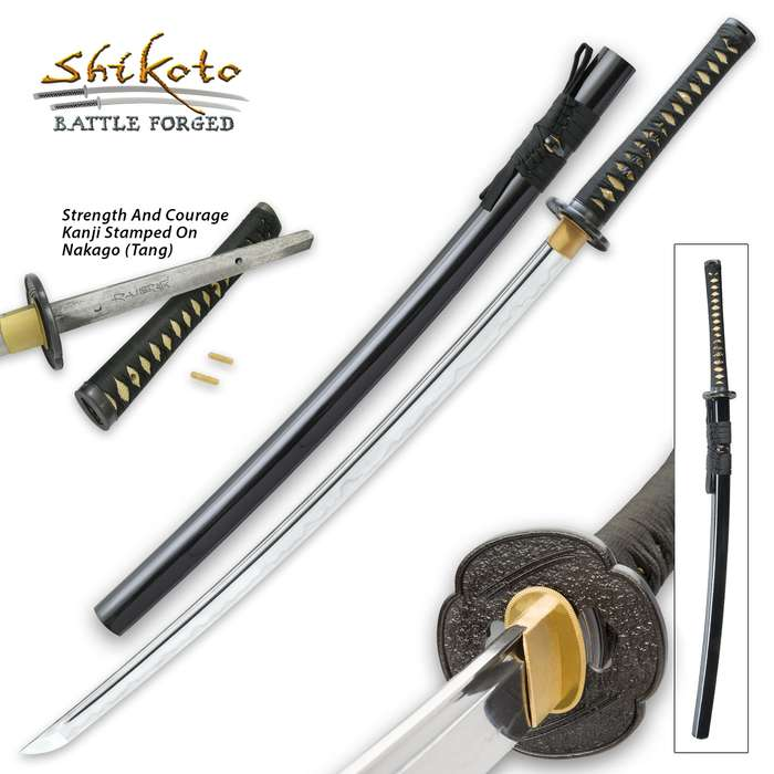 Shikoto Touchstone Handmade Katana / Samurai Sword - Hand Forged, Clay Tempered T10 High Carbon Steel - Genuine Ray Skin; Iron Tsuba - Functional, Full Tang, Battle Ready - Certificate of Authenticity